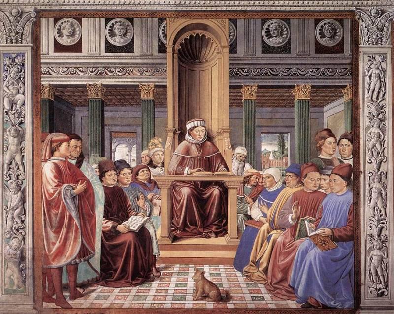 Беноццо Гоццоли. «Святой Августин преподаёт в Риме». Сцена 6 из цикла «Жизнь святого Августина». 1464-1465 гг. Церковь Сант-Агостино. Южная стена. Сан-Джиминьяно