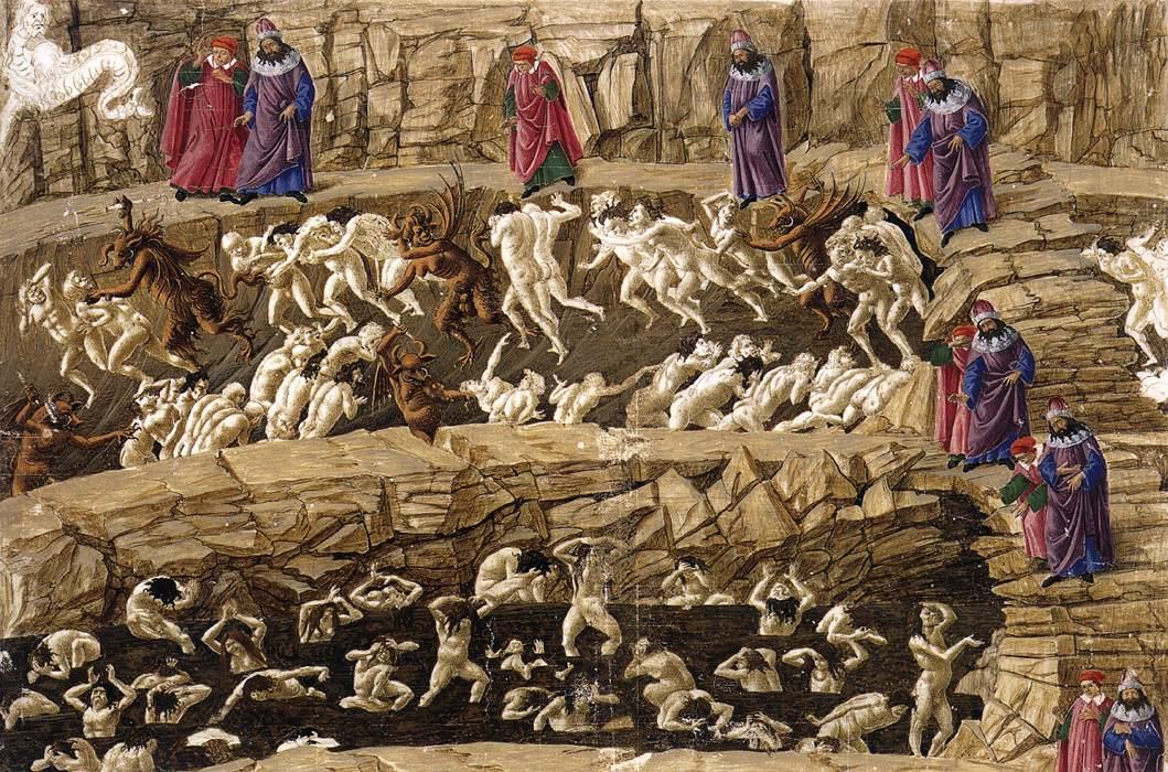 Сандро Боттичелли Иллюстрация к Божественной Комедии Данте