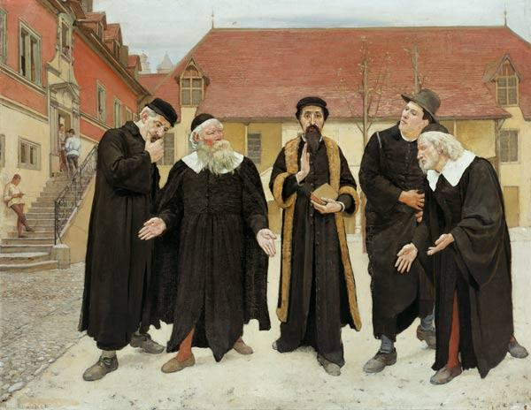 Кальвин с профессорами во дворе Коллеж де Женева