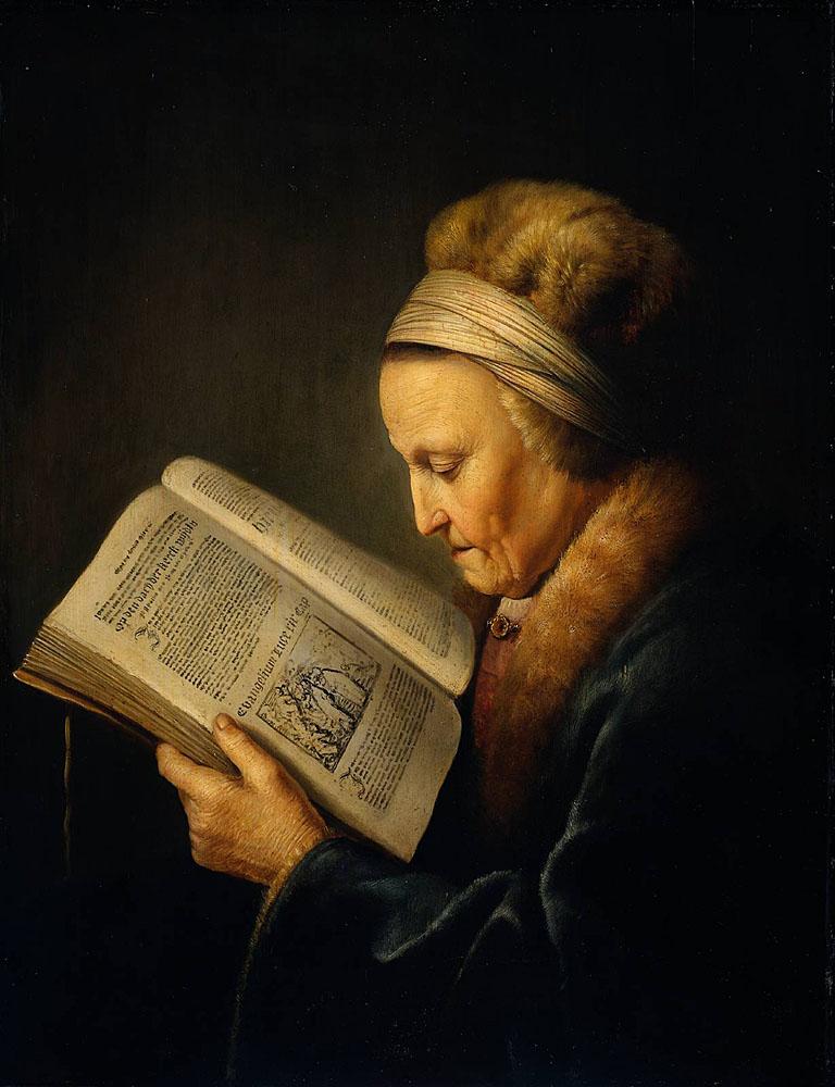 Герард Доу Старая женщина, читающая Библию