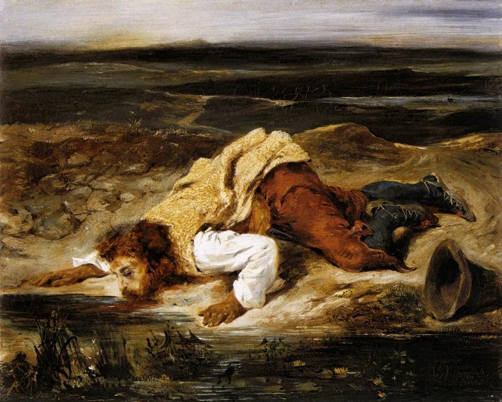 Эжен Делакруа. Смертельно раненный разбойник утоляет жажду. 1825