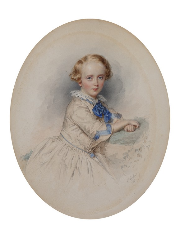 Леопольд Фишер. Портрет мальчика с синим бантом