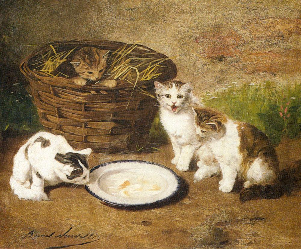 Альфред-Артур Брюнель де Нёвиль Котята у миски с молоком