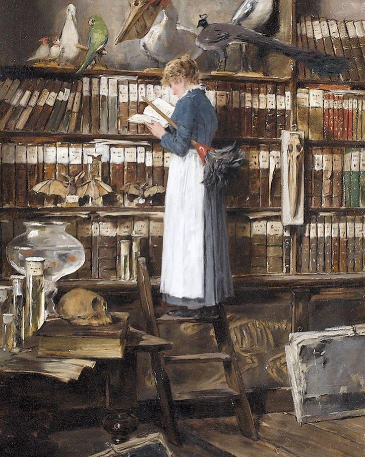 Эдуард Мента Интерьер библиотеки с читающей горничной