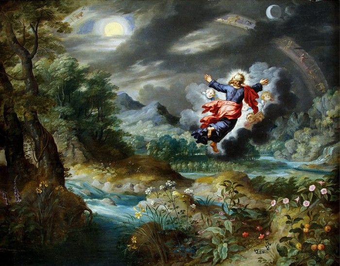 Ян Брейгель (Младший). Бог, создающий Солнце, Луну и звезды на небосводе