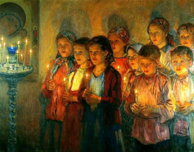 Николай Богданов-Бельский. В церкви, 1939