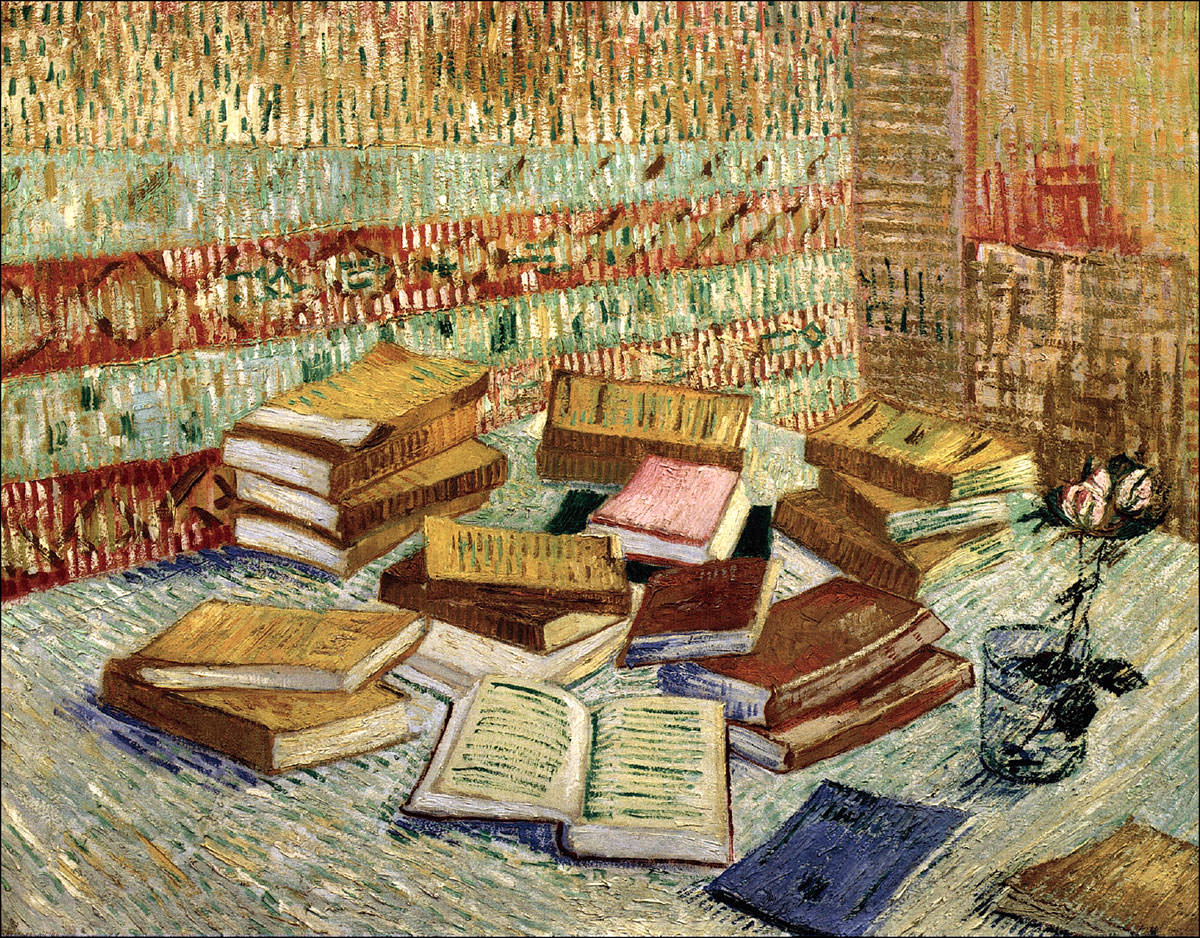 Картина художника Винсента Ван Гога «Натюрморт с французскими романами и розой»