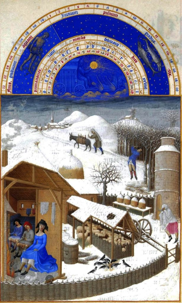 Великолепный часослов герцога Беррийского. Времена года. Февраль, между 1410 и 1490