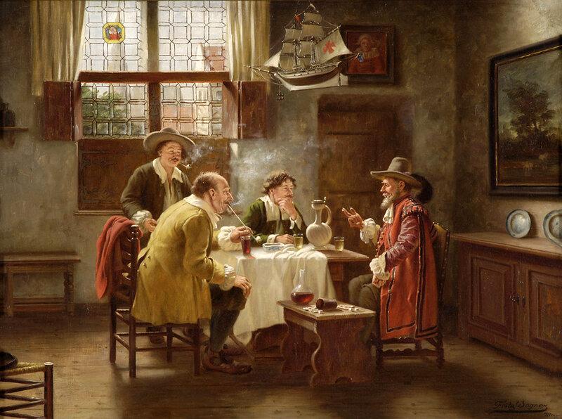 Фриц Вагнер (1896-1939) - Господа выпивают и курят в старых Нидерландах. Интерьер
