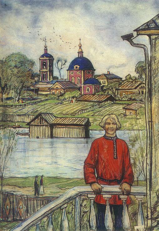 Илья Глазунов. Купеческий сын (Иллюстрация к рассказу Н.С. Лескова «Грабёж»), 1973