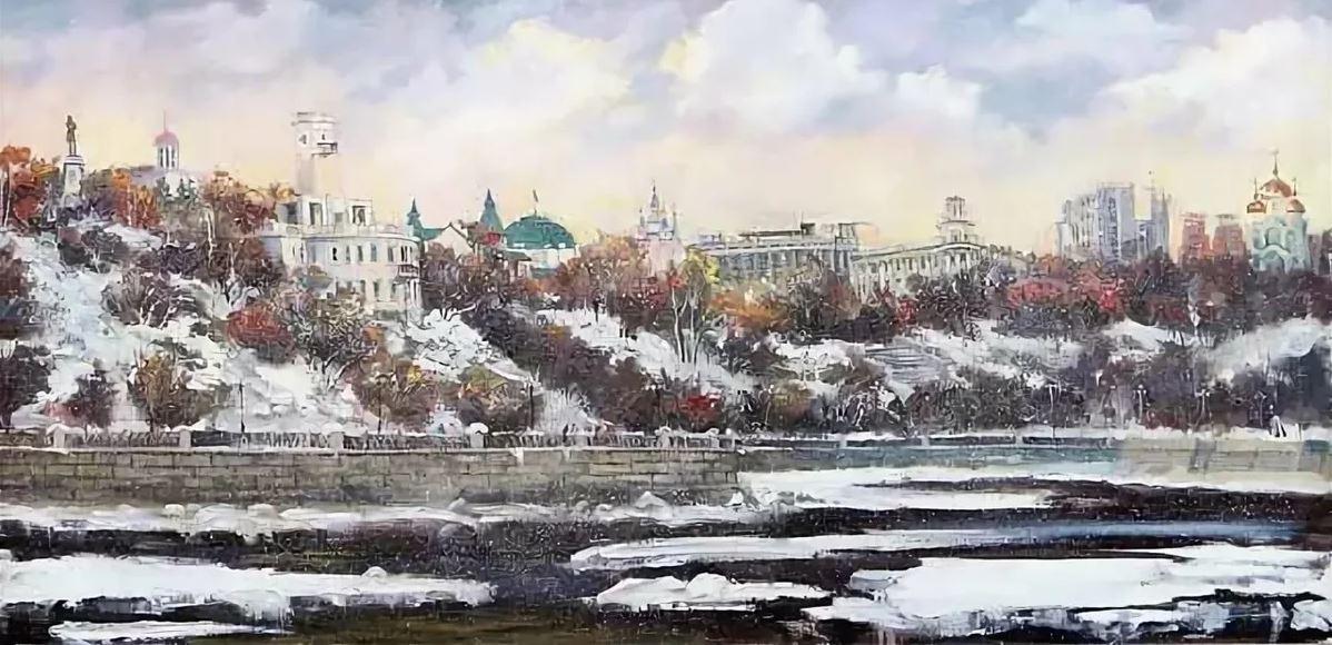 Ирина Меженкова - Вид на Хабаровск с реки Амур, 2014