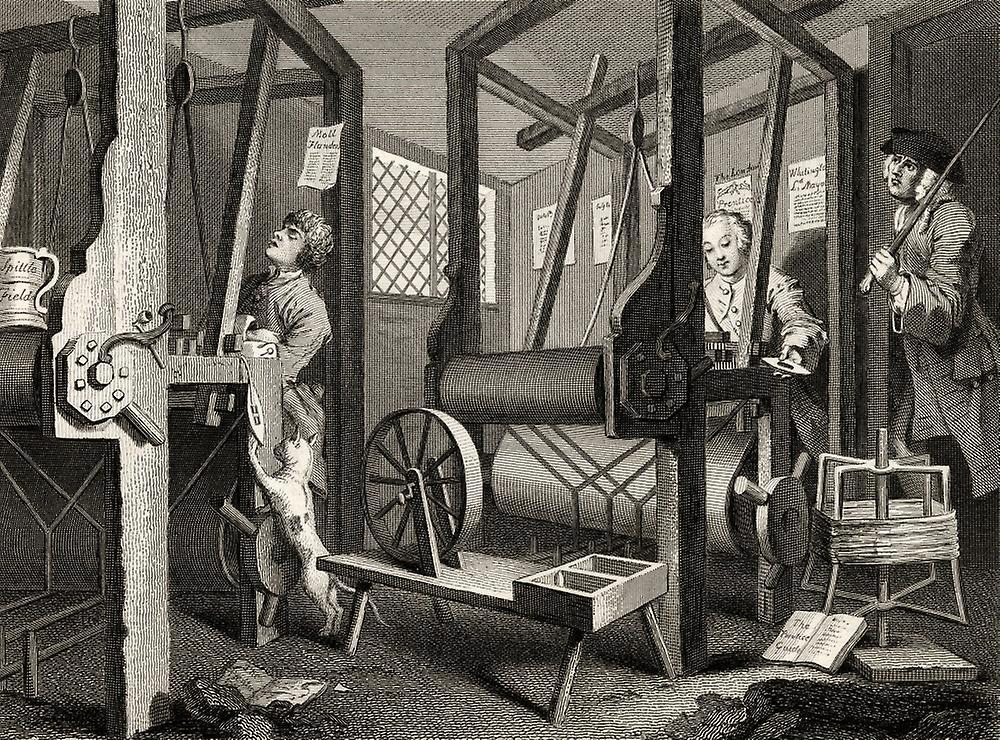 Уильям Хогарт. Прилежание и леность. Подмастерья на фабрике. 1747