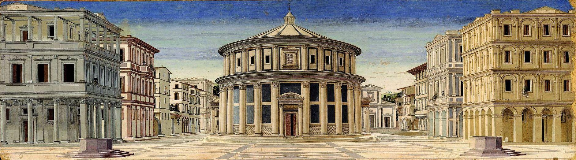 Неизвестный итальянский автор (предположительно Пьеро делла Франческа) - Идеальный город (около 1470 или позднее - до начала XVI в.)
