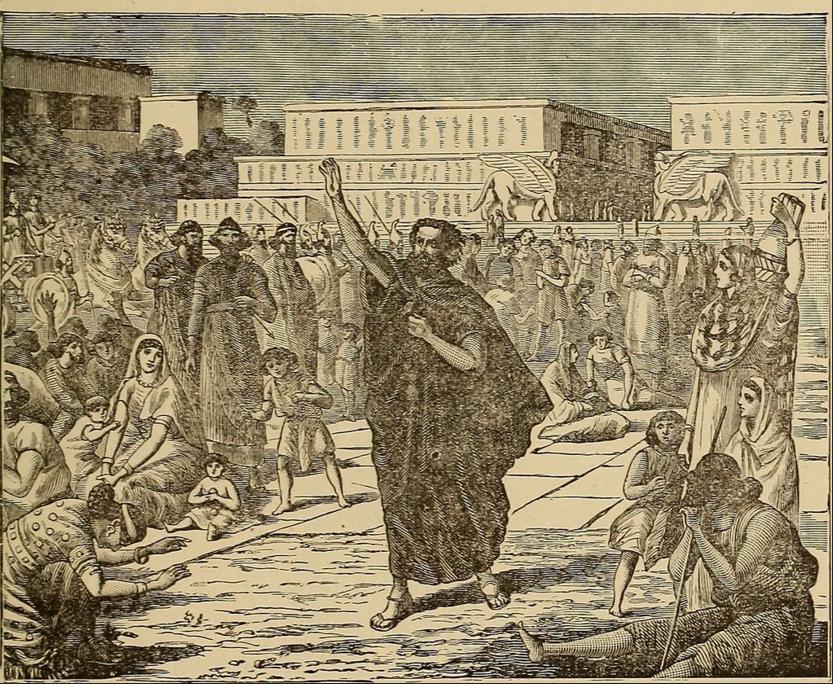 Иона проповедует в Ниневии. Иллюстрация из книги Джорджа А. Пельца «Восхитительные истории или домашние разговоры из замечательной книги» (1888)