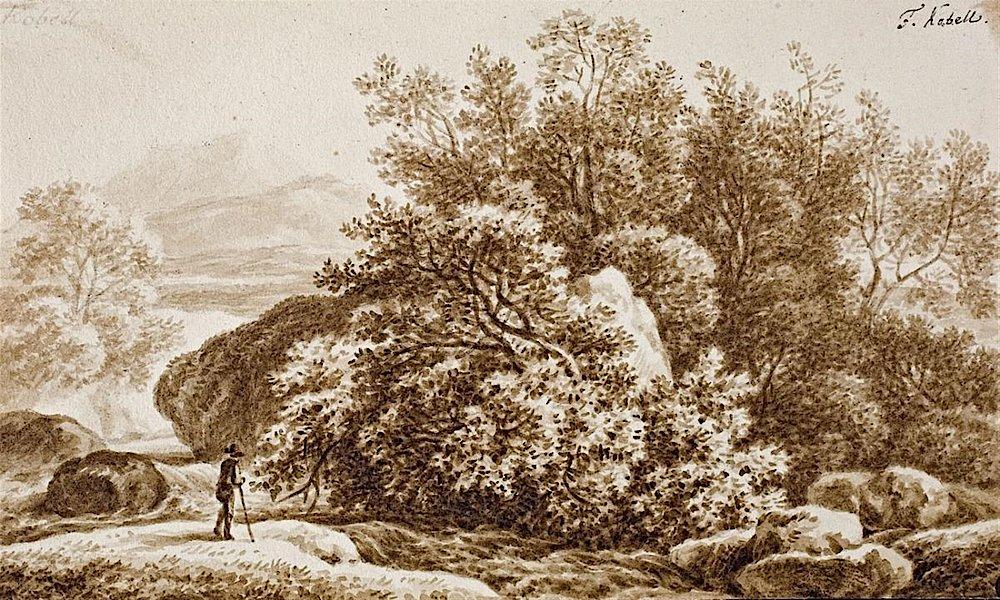 Фердинанд Кобелль (1740-1799) Пейзаж с одиноким путником