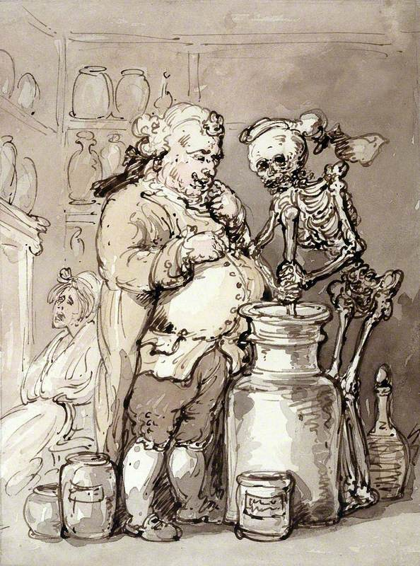 Смерть ассистирует аптекарю - Томас Роулендсон (1756-1827) или кто-то из его последователей