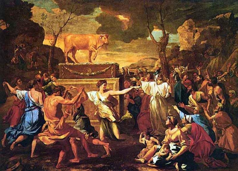 Никола Пуссен - Поклонение золотому тельцу
