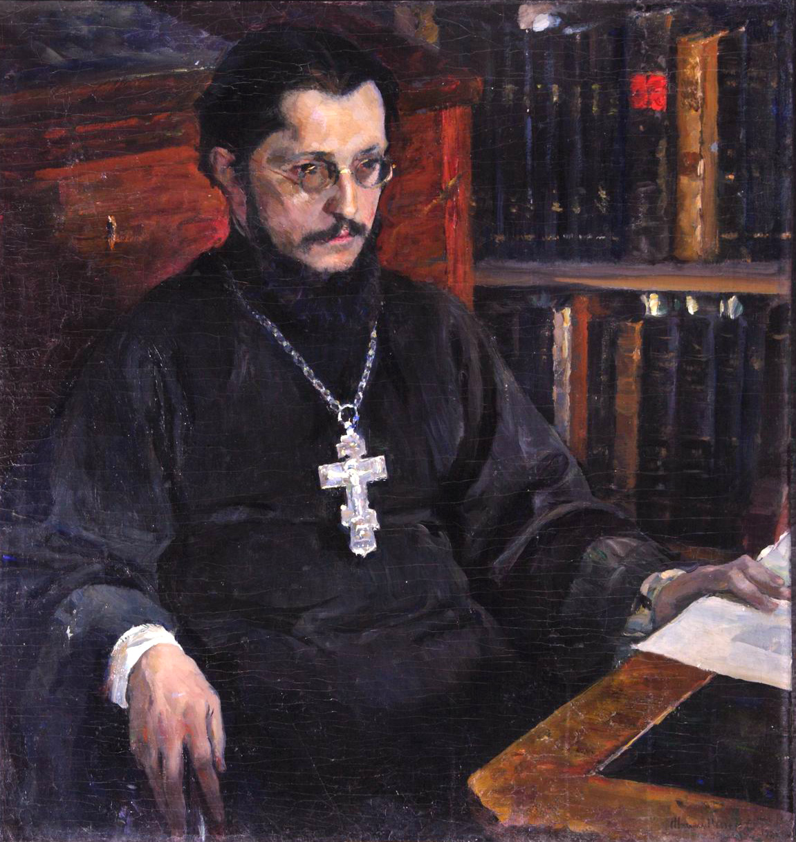 Михаил Нестеров - Тяжелые думы (портрет священника С.Н. Дурылина), 1926