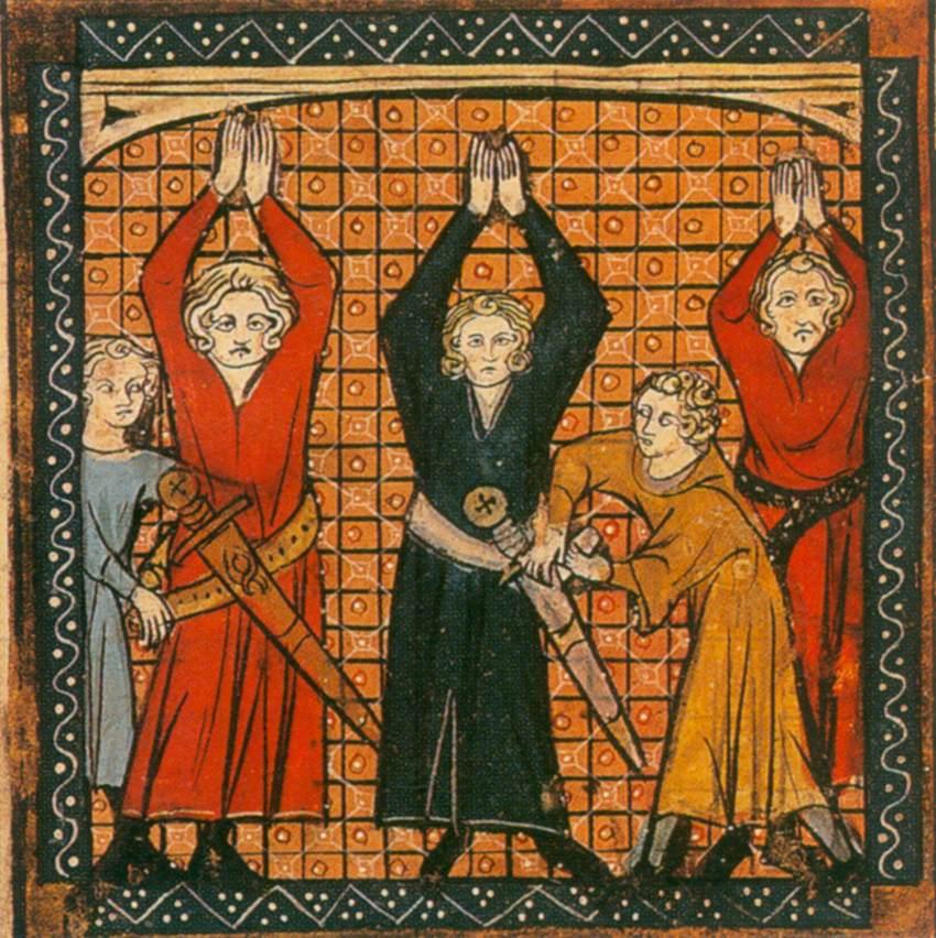 Вивьен и двое других дают клятву рыцарей - Миниатюра из манускрипта MS Royal 20. D. XI. Chansons of Guillaume d'Orange (Песни о Гильоме Оранжском), XIV в.