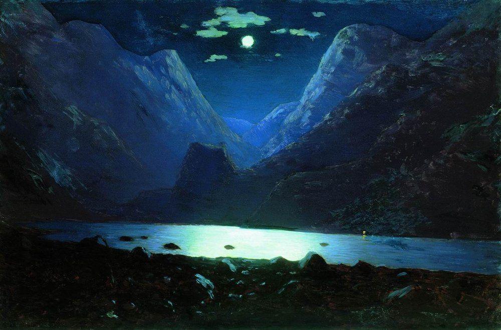 Архип Куинджи - Дарьяльское ущелье. Лунная ночь, 1890-1895 гг.
