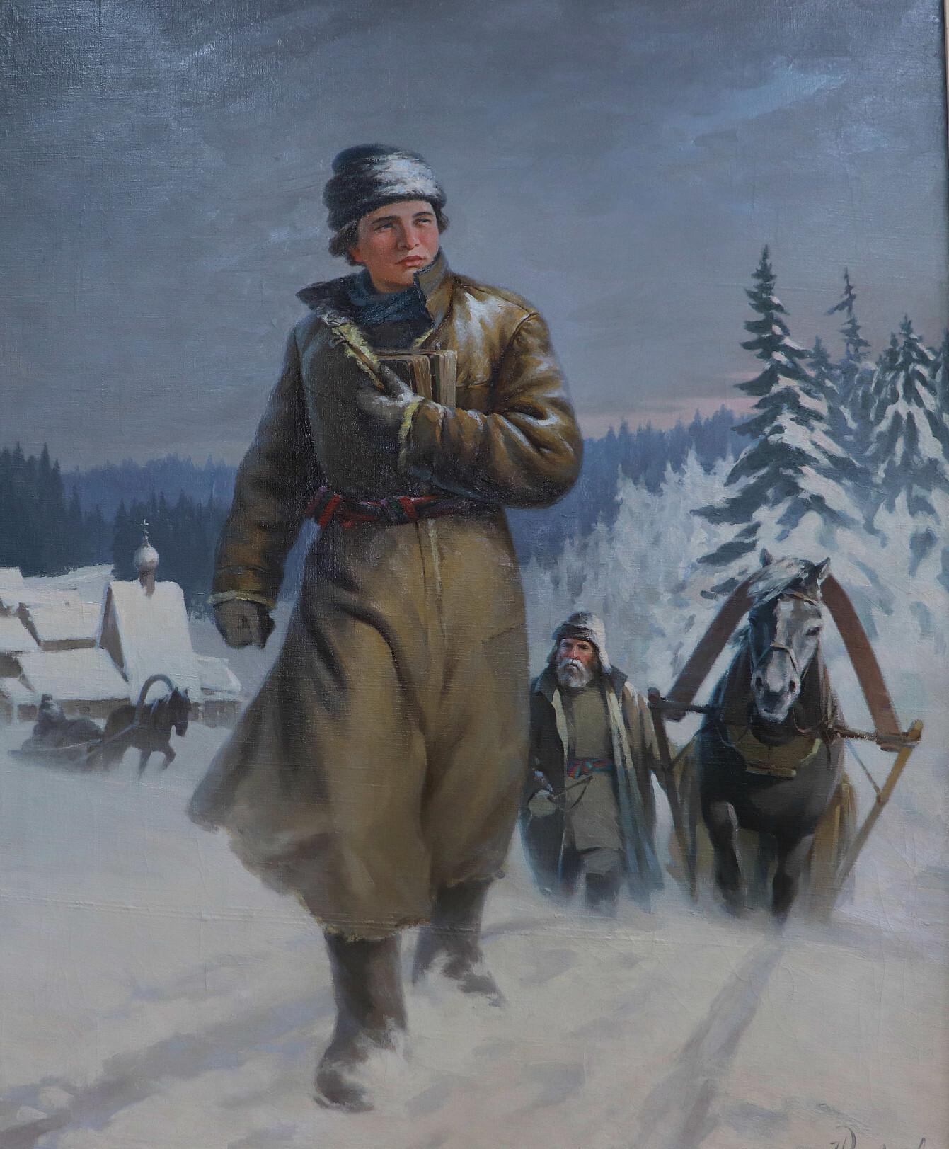 Н. И. Кисляков. «Ломоносов на пути в Москву», 1948