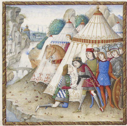 Нардо Рапикано - Представление дворянина королю. Миниатюра из манускрипта Джуниано Майо О величии, 1492
