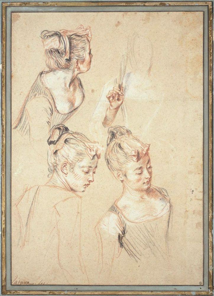 Антуан Ватто - Три этюда женщины и веер, который она держит в руках