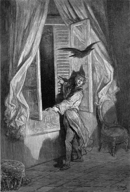 Гюстав Доре - Иллюстрация к балладе «Ворон», 1884