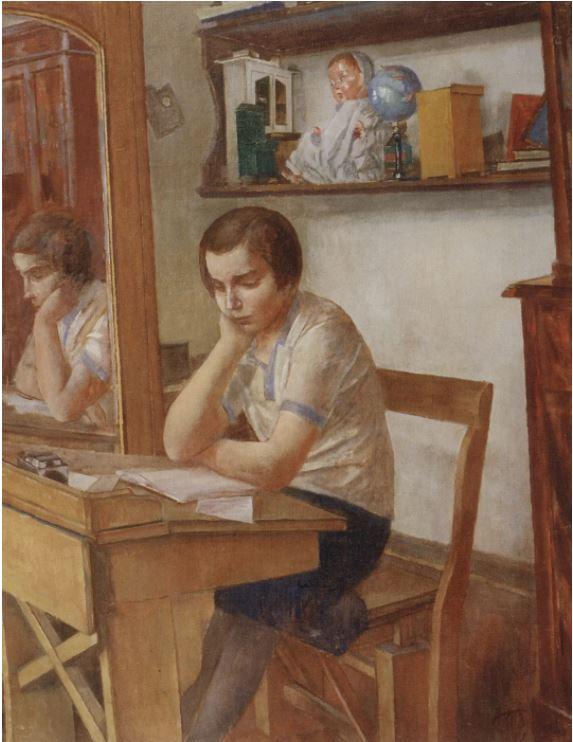 Кузьма Петров-Водкин - Девочка за партой, 1934