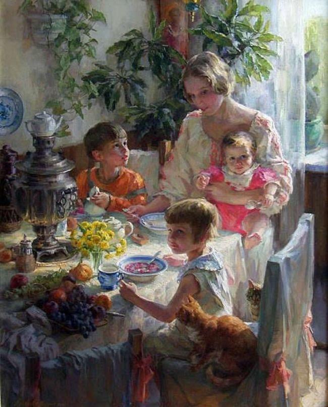 Полина Лучанова За обедом. Автопортрет с детьми
