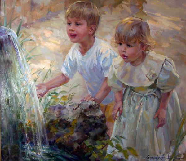Полина Лучанова Дети у фонтана