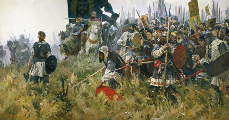 Картина художника Александра Бубнова Утро на Куликовом поле