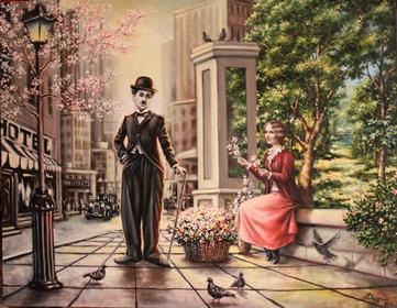 Картина современного художника сюрреалиста Андрея Дерягина Чаплин Прогулка