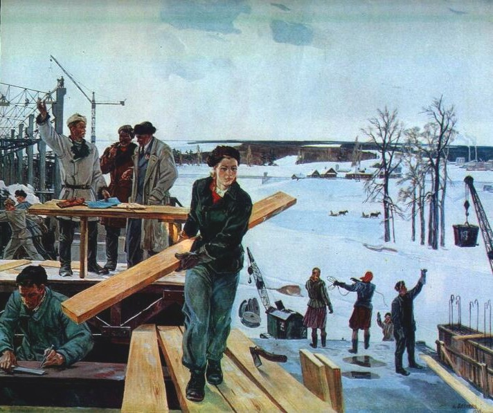Картина советского художника Александра Дейнеки На просторах подмосковных строек