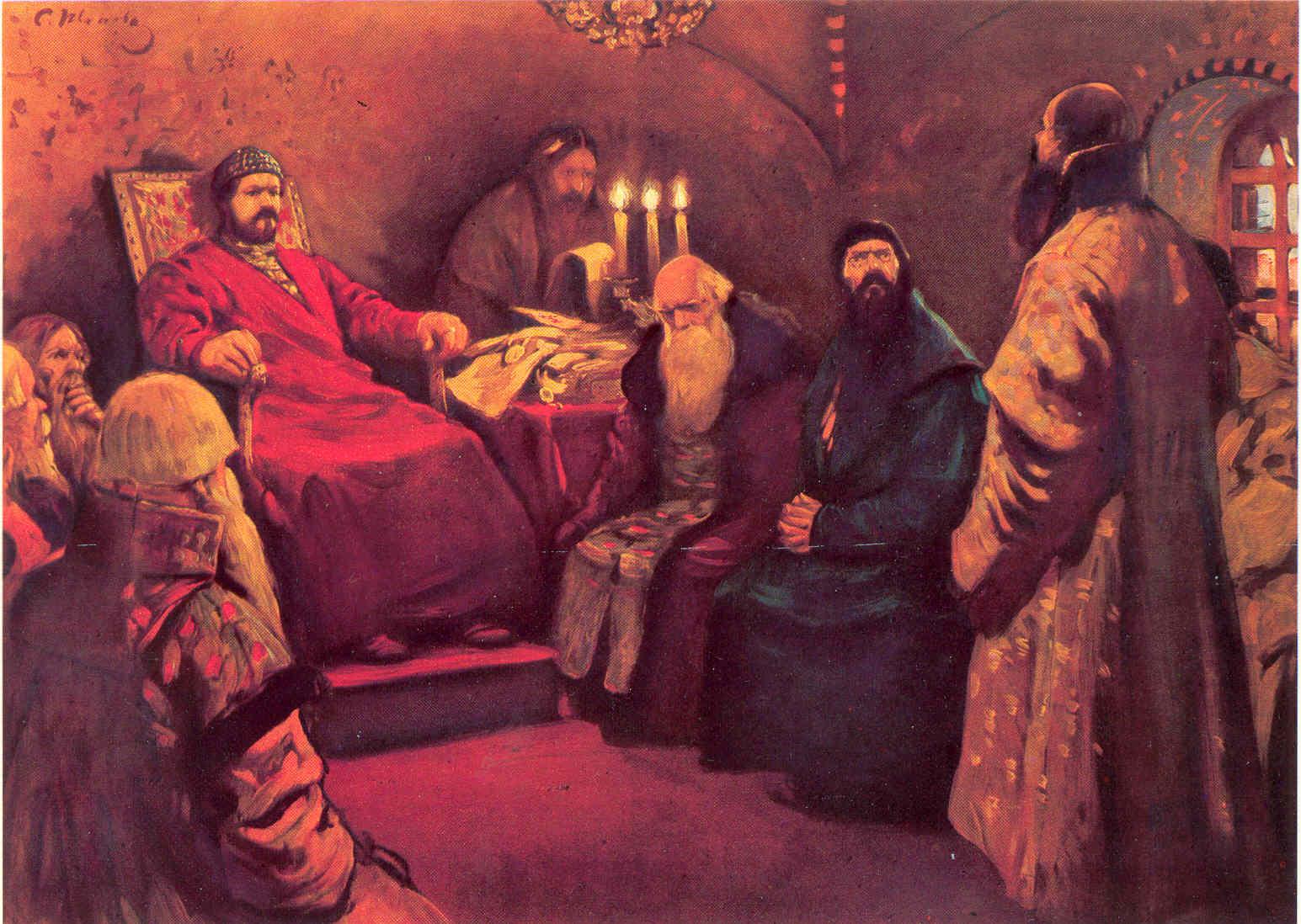 Картина русского художника С.В. Иванова Боярская дума