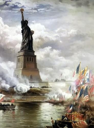 Картина американского художника Эдварда Морана Открытие статуи свободы