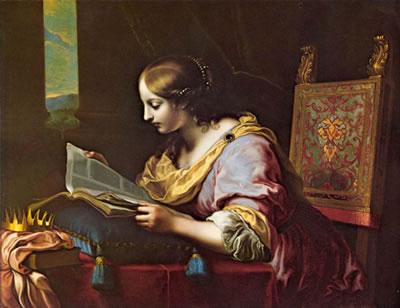 Картина художника итальянского Возрождения Карло Дольчи Св. Екатерина Александрийская, читающая книгу