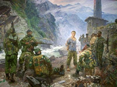 Картина русского православного художника Максима Фаюстова Русский мученик Евгений Родионов