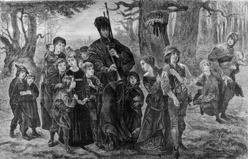 Густав Спангенберг Дудочник уводит детей из Гамельна the pied piper leads away the children of hamelin