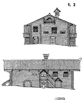Дом - трехчастный комплекс. ХVIII век. Вологодская обл.