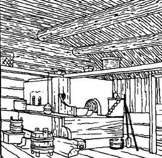 Интерьеры курной избы. Архангельская обл. ХIХ век