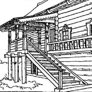 Крыльцо - увертюра композиции жилого пространства. Дом Елизарова. Карелия. ХIХ век