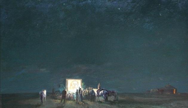 Картина казахского художника Данзанбалжирын Энхгайван Кино в степи