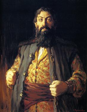 Картина современного русского художника Сергея Кириллова Купец с рублем