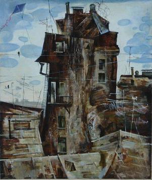 Картина современной российской художницы Веры Юрьевны Левиной Старый дом