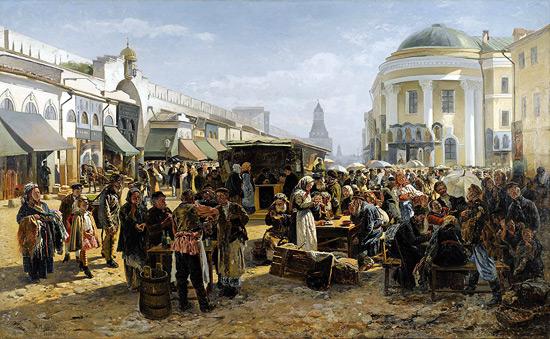 Картина русского художника Владимира Маковского Толкучий рынок в Москве