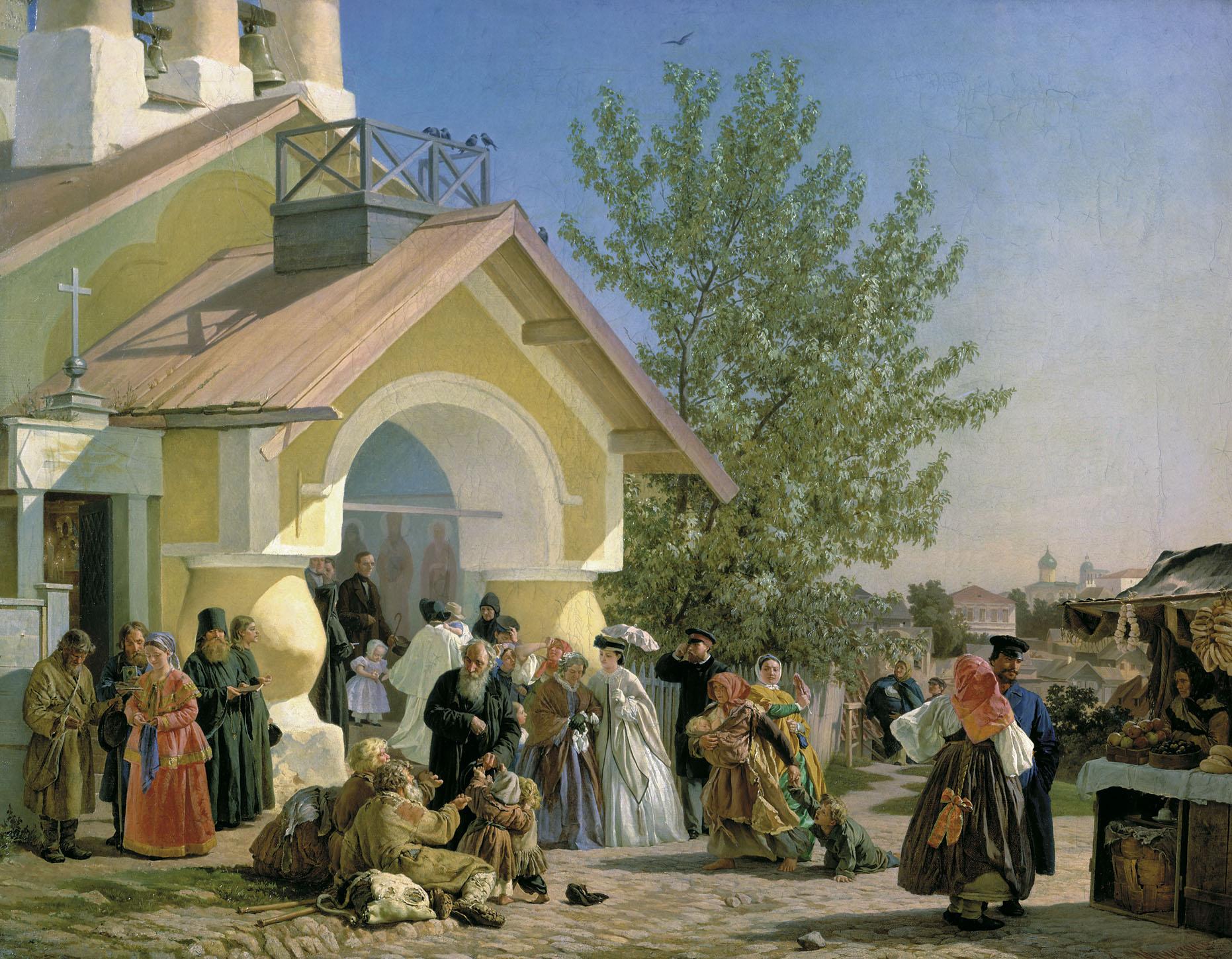 Александр Морозов Выход из церкви в Пскове