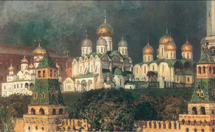 Картина русского художника Аполлинария Васнецова Московский Кремль