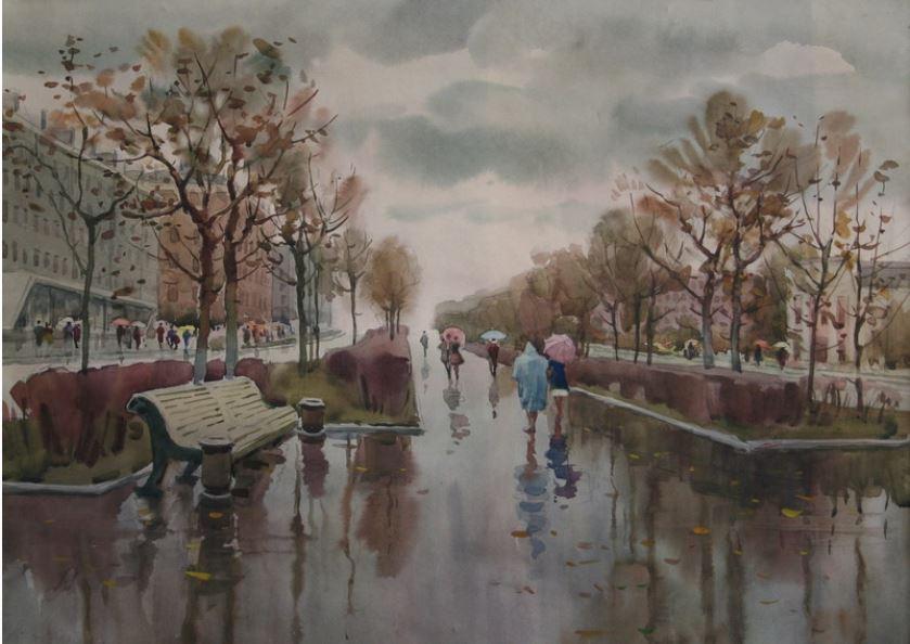 Югаткин А. А. «Проспект Ленина после дождя». 1978 г.