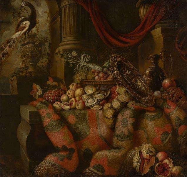 Натюрморт с ковром, фруктами и павлином. Абрахам де Люст